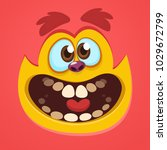 cartoon cute red monster face.... | Shutterstock .eps vector #1029672799
