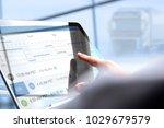 driver writing electronic  log... | Shutterstock . vector #1029679579