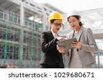one female building designer... | Shutterstock . vector #1029680671