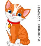 Stock vector illustration of cute cat wearing a red collar with gold tag 102969854