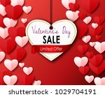 valentines day sale with paper... | Shutterstock .eps vector #1029704191