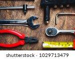 set of construction tools on... | Shutterstock . vector #1029713479
