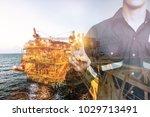 double exposure of engineer or... | Shutterstock . vector #1029713491