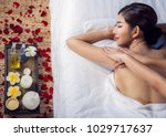 asian lady relax with masage... | Shutterstock . vector #1029717637