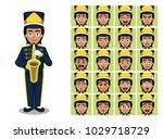 marching band saxophone girl...   Shutterstock .eps vector #1029718729