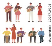 people playing guitar in... | Shutterstock .eps vector #1029719305