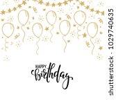 doodle gold balloon. hand drawn ... | Shutterstock .eps vector #1029740635