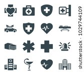 emergency icons. set of 16... | Shutterstock .eps vector #1029744109