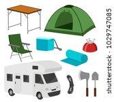 the camping set. equipment....   Shutterstock .eps vector #1029747085