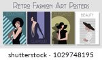 vector retro fashion art posters | Shutterstock .eps vector #1029748195