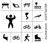exercise icons. set of 13... | Shutterstock .eps vector #1029760789