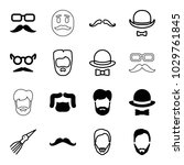 mustache icons. set of 16... | Shutterstock .eps vector #1029761845