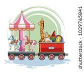 carrousel and kids toys on train   Shutterstock .eps vector #1029765841