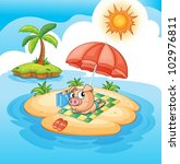 illustration of a pig sun baking | Shutterstock .eps vector #102976811