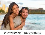 couple in love on hawaii travel ... | Shutterstock . vector #1029788389