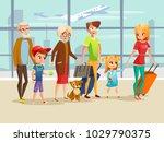 family travel in airport vector ... | Shutterstock .eps vector #1029790375