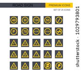 road signs icons set vector  | Shutterstock .eps vector #1029793801
