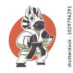 funny zebra kid black belt... | Shutterstock .eps vector #1029796291