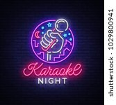 karaoke night vector. neon sign ... | Shutterstock .eps vector #1029800941