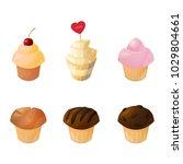 chocolate  vanilla  curd  berry ... | Shutterstock .eps vector #1029804661