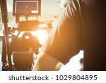 cinema camera on film set ...   Shutterstock . vector #1029804895