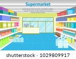 cartoon interior shop or... | Shutterstock .eps vector #1029809917
