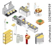 factory cheese production line... | Shutterstock .eps vector #1029809959