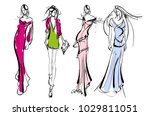 stylish fashion models. pretty... | Shutterstock .eps vector #1029811051