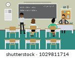 students and teacher in... | Shutterstock .eps vector #1029811714
