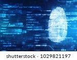 security concept  fingerprint... | Shutterstock . vector #1029821197