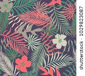 tropical background with palm... | Shutterstock .eps vector #1029823087