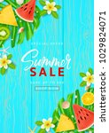 summer sale promo flyer... | Shutterstock .eps vector #1029824071