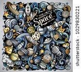 cartoon vector doodles space... | Shutterstock .eps vector #1029830221