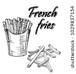 french fries sketch. | Shutterstock .eps vector #1029837154