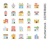 buildings flat vector icons... | Shutterstock .eps vector #1029838681
