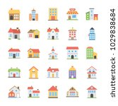 pack of buildings flat vector... | Shutterstock .eps vector #1029838684