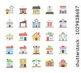 buildings flat vector icons... | Shutterstock .eps vector #1029838687