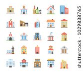 buildings flat vector icons... | Shutterstock .eps vector #1029838765