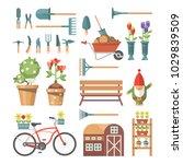 spring gardening vector flat...   Shutterstock .eps vector #1029839509