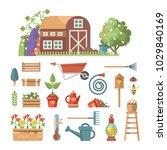 spring gardening vector flat... | Shutterstock .eps vector #1029840169