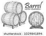 wooden barrel set. black and...   Shutterstock .eps vector #1029841894