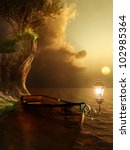Old Boat In Evening Sun Light