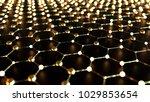 gold hexagonal grid  science... | Shutterstock . vector #1029853654