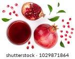 a glass of pomegranate juice... | Shutterstock . vector #1029871864