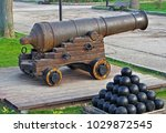 imitation old military coastal... | Shutterstock . vector #1029872545