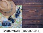 retro camera  map  binoculars ... | Shutterstock . vector #1029878311
