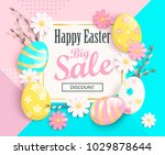 big sale card for happy easter... | Shutterstock .eps vector #1029878644