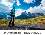 hiker on the trail in torres... | Shutterstock . vector #1029890329