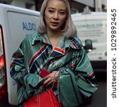 Small photo of LONDON, United Kingdom- February 16 2018: Irene Kim on the street during the London Fashion Week