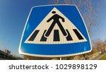 blue pedestrian walkway sign | Shutterstock . vector #1029898129